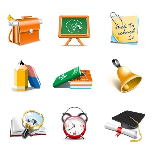 office-Tool-and-school-elements-icon-vector-4-600x600 学校や仕事に関するキュートなベクタークリップアート素材