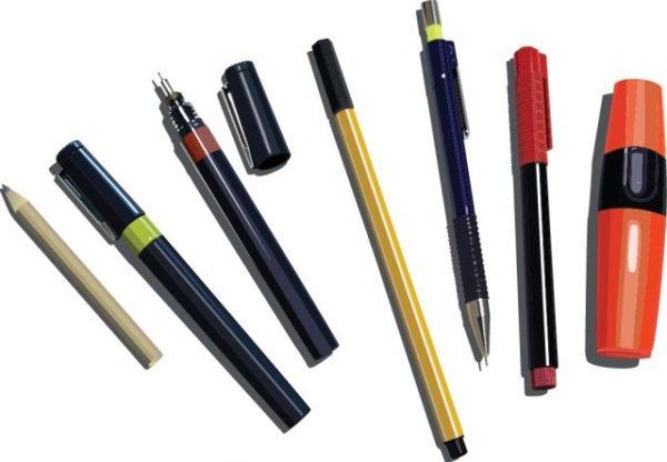 pens_pencils_and_markers-600x416 リアルなペン(鉛筆・シャーペン・サインペン・マジックなど)の無料ベクタークリップアート素材