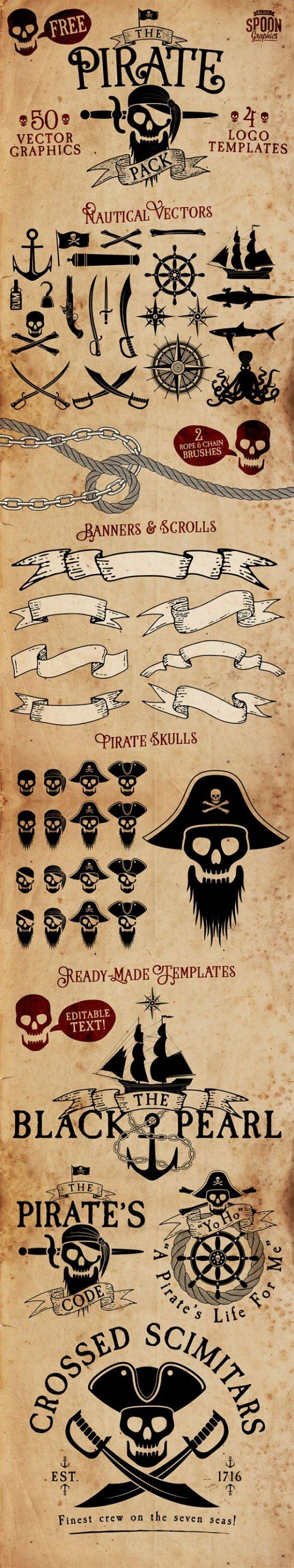 pirate-pack-600x3193 海賊をテーマにしたFREEベクターイラスト素材集