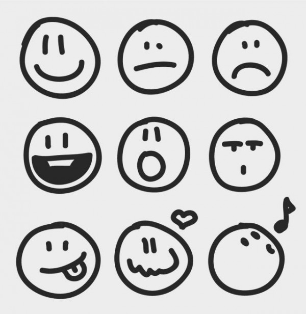 pixel77-free-vector-sketchy-emotion-icons-600x616 落書き・手書き風の顔。無料ベクタークリップアート