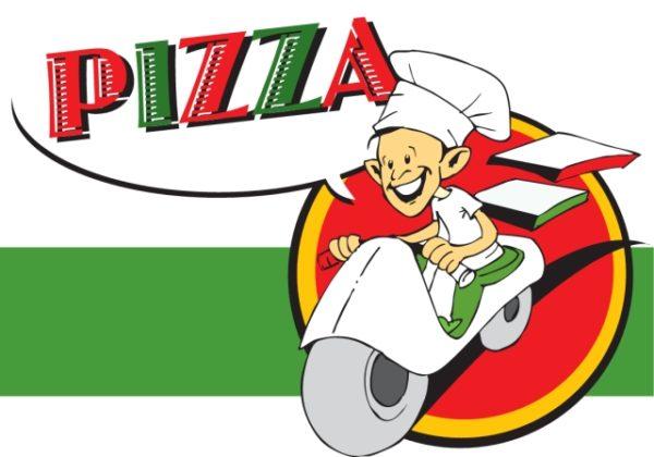 pizzaiolo-with-pizza-600x420 宅配ピザの無料ベクターイラスト素材。