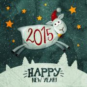 Funny sheep and 2015 new year vintage background
