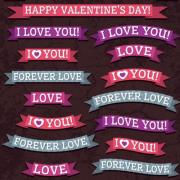Valentine ribbon banner design vector 02
