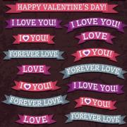 Valentine ribbon banner design vector 02