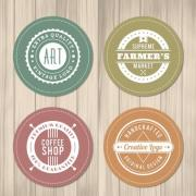 4-circular-shops-label-vector