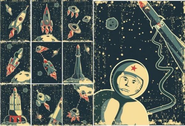 retro-rockets-600x411 レトロかわいい宇宙がテーマのイラスト素材
