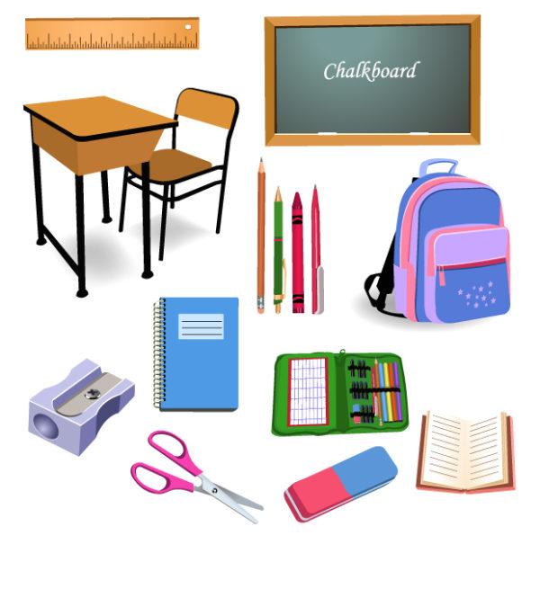 school-objects-600x655 学校に関連するアイテムのクリップアート素材