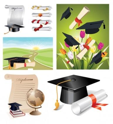 school_graduation_clip_art_155218 卒業証書と帽子。無料ベクタークリップアート素材セット