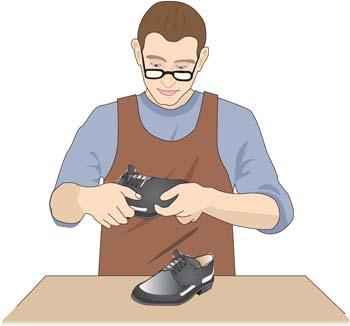 shoes-man 修理中の靴屋さん。無料ベクタークリップアート素材