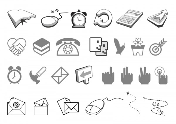 simple-black-and-white-icon-vector-of-two-free-Vector-icon-600x424 ビジネスに関連したシンプルなベクタークリップアート素材