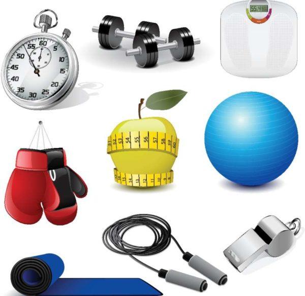 sports-equipment-vector-set-03-600x582 スポーツジムやフィットネスクラブに関連のあるアイテムを集めた無料ベクタークリップアート集