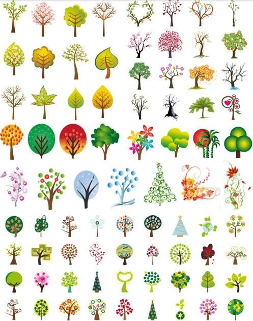 tree-vector-designs いろいろなデザインの木のイラスト素材