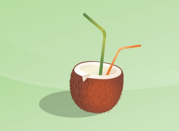 tropical-drink-600x439 トロピカルドリンク(椰子の実ジュース)の無料ベクタークリップアート素材