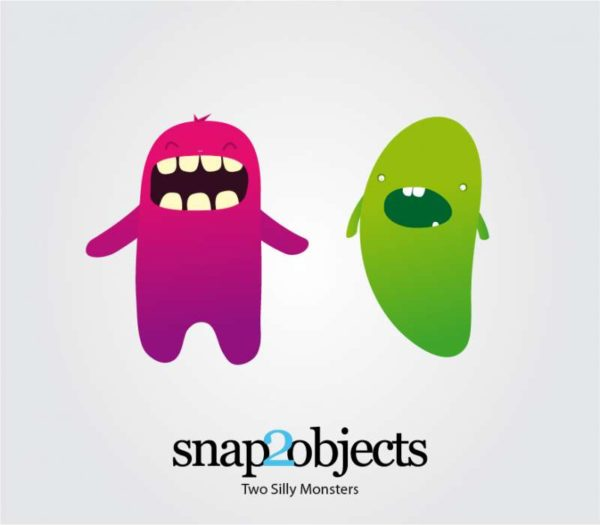 two-silly-vector-monster-snap2objects-600x525 コワかわいいモンスターの無料イラスト2個