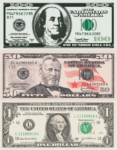usd-dollar-vector-eps ドルのお札(1ドル・50ドル・100ドル)フリベクターイラスト素材