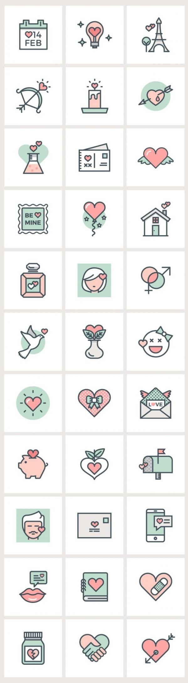 valentine-flat-line-icons-600x2178 ロマンチックでクールなバレンタイン用ベクターフラットアイコン