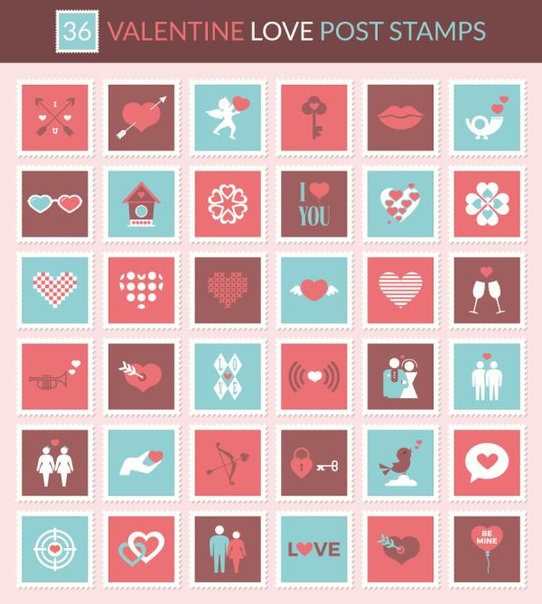 valentine-love-post-stamp-icons-preview-600x669 36個のラブリーでかわいい切手のイラスト素材。バレンタインやウェディングに!