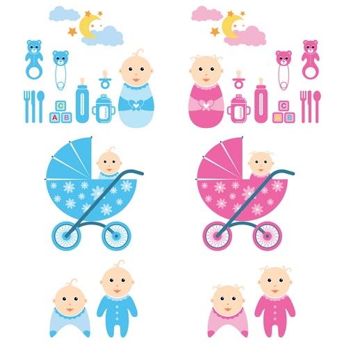 vector-baby-time-by-dragonart 赤ちゃんと赤ちゃんにまつわるアイテム。無料のベクターイラストセット