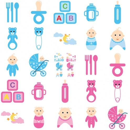 vector-baby-time-cs-by-dragonart 赤ちゃんと赤ちゃんにまつわるアイテム。無料のベクターイラストセット