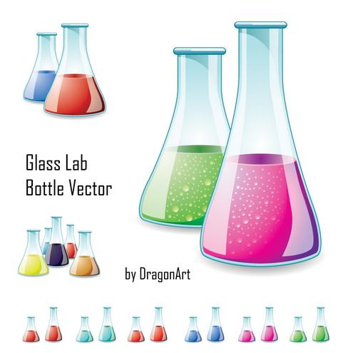 vector-glass-lab-bottle-prev-by-dragonart カラフルで綺麗な液体が入ったフラスコ。無料ベクタークリップアート素材