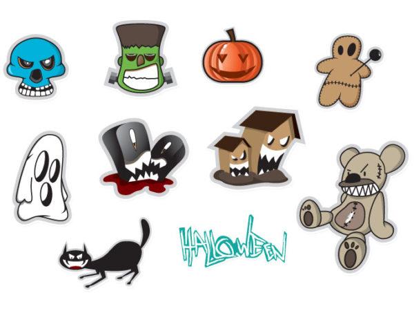 vector-halloween-stickers-11037-600x450 ハロウィンのお化けをモチーフにしたステッカータイプのベクターイラスト素材