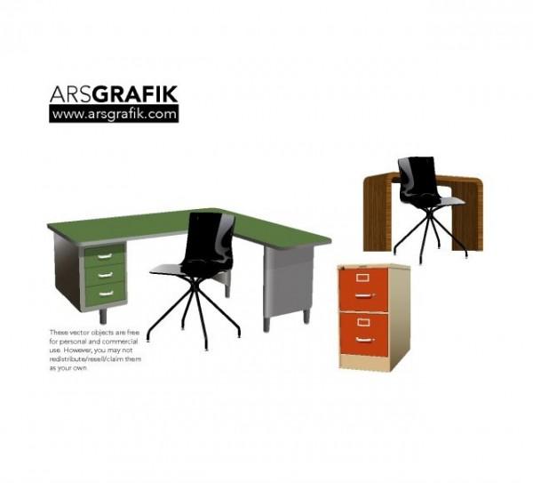 vector-office-furniture-600x543 おしゃれなオフィス用デスクやチェスト。無料ベクタークリップアート素材