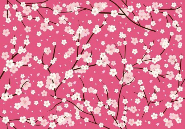 vector-plum-blossom-seamless-pattern-600x420 満開の桜がきれいなベクタースウォッチパターン背景素材。
