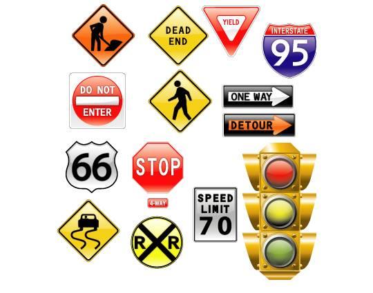 vector-road-signs アメリカの交通標識と信号機。無料ベクターイラスト素材