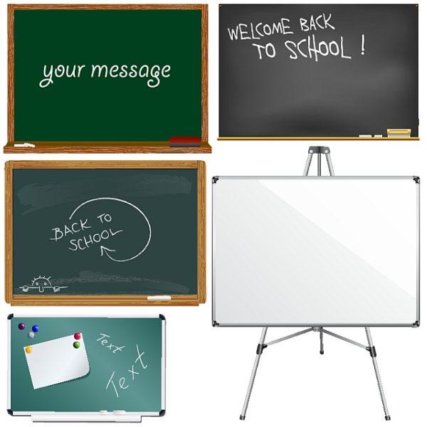 vector-school-boards-600x600 学校で見かける黒板とオフィスで見かけるホワイトボードのクリップアート