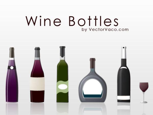 vector-wine-bottles-110421-600x450 シンプルなワインやシャンパンボトル5種類とワイングラスのセット。ベクタークリップアート素材
