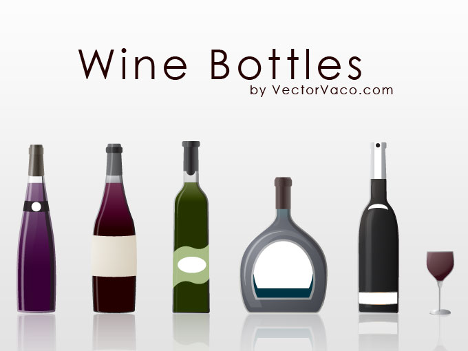 シンプルなワインやシャンパンボトル5種類とワイングラスのセット