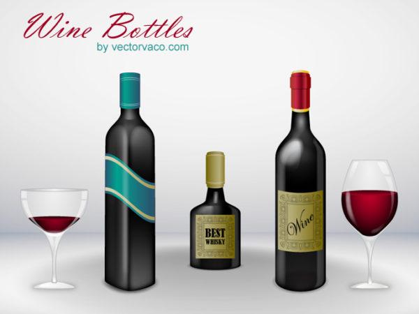 vector-wine-bottles-12017-600x450 おしゃれなワインやウイスキーボトルとグラスのセット。ベクタークリップアート素材