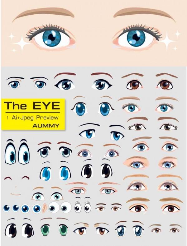 vector_eyes-600x788 アニメ風、目のイラスト素材30個(ベクターデータ)
