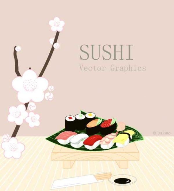 vectors-food-sushi-600x660 お寿司と桜を描いた春らしいベクターイラスト素材