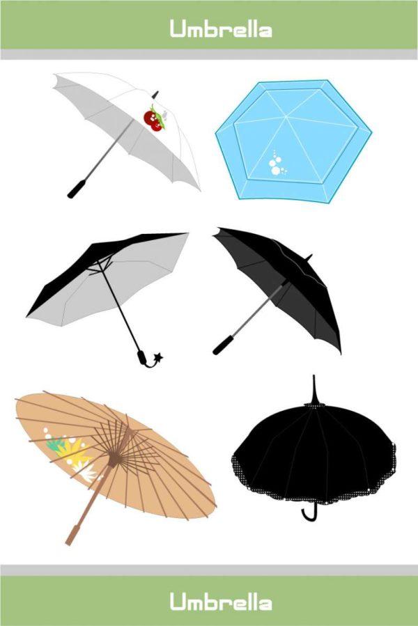 vectorvaco_09101901_umbrella_vectors-600x899 和傘っぽいのを含む6種類の傘(アンブレラ)のベクタークリップアート素材