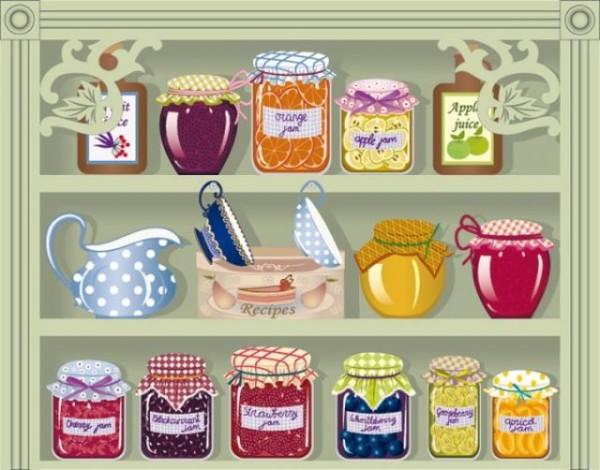 vintage-jars-of-jam-600x470 ジャムと棚の無料ベクターイラスト素材