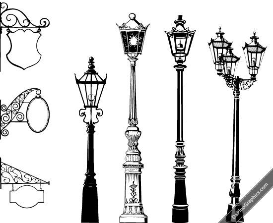 vintage-street-lights-signs ヨーロピアンな街灯の無料ベクターシルエット素材