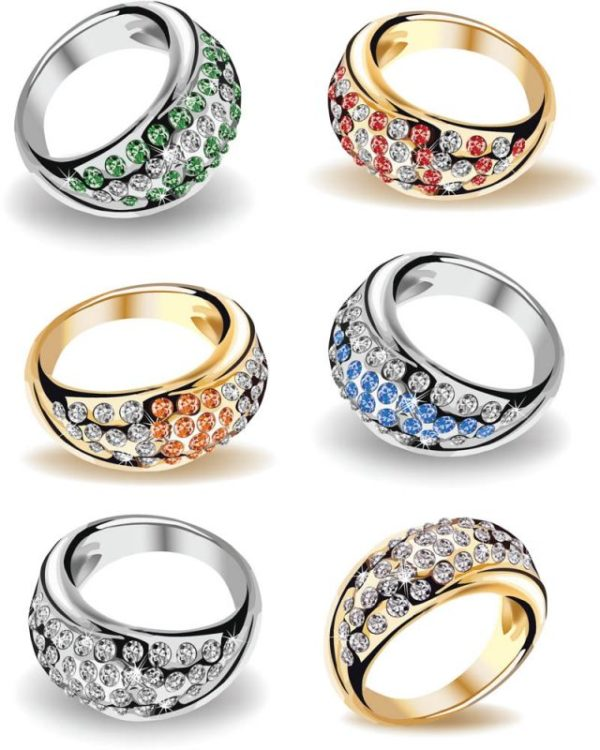 wedding-rings-illustrations-vector-600x750 ゴージャスな指輪(プラチナ・ゴールド)フリーベクタークリップアート素材