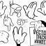 ミッキーの手に良く似た9種類のゼスチャーイラストのセット(無料のベクター)