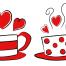 ラブリーな2種類のコーヒーカップ。無料のベクターバレンタイン・イラスト素材