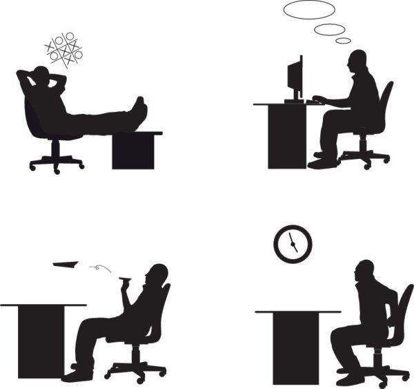 work_in_the_Office_Silhouettes-600x563 オフィスにおけるビジネスマンの1日を描いたユニークなベクタークリップアート素材