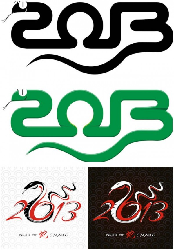 year-of-snake-2013-vector-600x862 年賀状用の干支、蛇(巳、へび)の無料ベクターイラスト素材